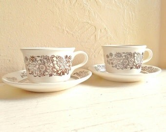 Pair of Tea Cups and Saucers Tea for 2 Two Creamy White Brown Flowers Ceramic