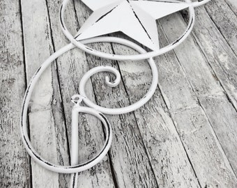 Metal Star Wall Decor, White Home Decor, Texas Star, Bedroom Decor, Shabby Chic,Country Star, Primitive Decoration, Star Plaque