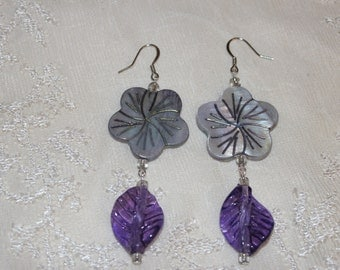 Island Breeze, Summer Earrings.Opalescent. Mother of Pearl, Natural Shell Flowers. With Sheer, Purple,Glass Leaves. Summer Splendor Vacation