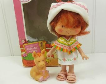 Cafe Ole and Burrito, 1980s Strawberry Shortcake Mocha Scented Doll and Donkey with Original Box