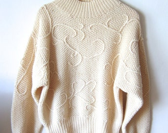 Lovely Patterned Knit Cream 90's Sweater