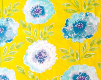 Yellow Blue Fabric - Big Bright Flowers Floral Quilter's Weight Cotton Print Fabric - One Yard - Yardage - By the Yard