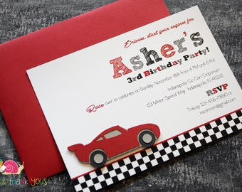 Racecar Birthday Party Invitations · A6 FLAT · Birthday Party | Motorsports | NASCAR Racing Inspired | Checkered Flag