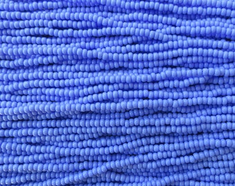 8/0 Opaque Medium Blue Czech Glass Seed Bead Strand (CW82)
