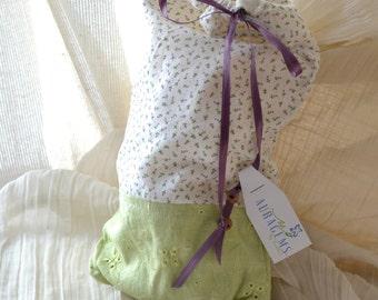 Linen, Rosebuds Keepsake Drawstring Bag - Handmade OOAK - Long Size fits Book, Wine Bottle, Incense Sticks, Tarot Decks - Free US Shipping