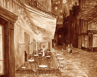 coffee art, Cafe Terrace, painted using only coffee, night cafe, sidewalk cafe, Van Gogh, stars, espresso