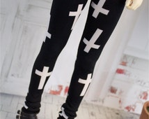 Black White Cross Pants for SD BJD, 1/3 Clothes, Leggings