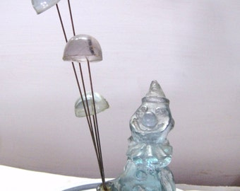 """Vintage Sky Blue Frosted Glass Clown With Balloons Figurine 7.5"""""""