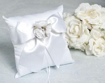 Rose Plush Satin and Organza Wedding Ringbearer Pillow - 75102