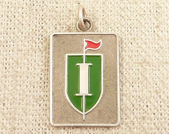 """SALE --- Vintage Sterling Green Shield Charm with Tiny Red Flag """"I"""" Motif"""