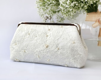 White Lace Bridal Clutch beaded with Freshwater Pearls and Pearl Strap (Ready to ship)