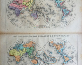 1912 Antique World Map of Races and Religions - World in Hemispheres