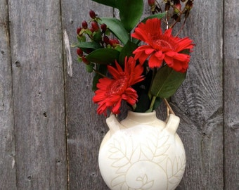 Handmade Pottery White Fern Wall Vase