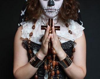 Living Dead Girl Overbust Glow In The Dark Skeleton Corset OOAK