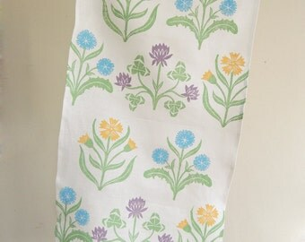 white linen hand block printed tea towel Cottage Garden kitchen botanical home decor floral pastels