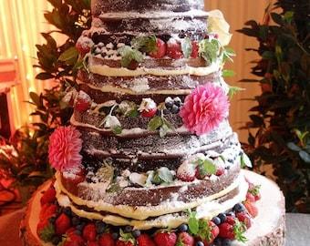 WOODBURNING / ENGRAVING ONLY - Full Monogram Shield Crest or Flower Laurels - Rustic Wood Tree Slice Wedding Cake Base or Cupcake Stand