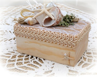 Ring Bearer's Box - Beach Wedding Ring Holder / Pillow