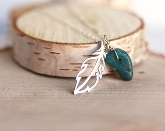 Modern Feather Necklace,Openwork Sterling silver Feather,Turquoise,Birth stone,Initial ADD ON,Spiritual Necklace,Symbolic,Minimalist
