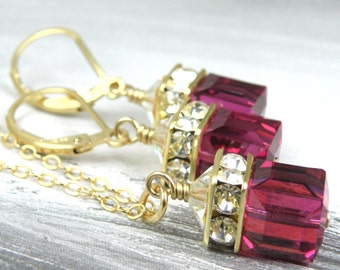 Ruby Crystal Jewelry Set, Magenta Swarovski Cube, Fuchsia Necklace and Earrings, Gold Filled, Handmade Bridesmaid Gift, Summer Wedding