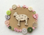 """Brooch  -  """"The Button Sheep"""", hand embroidery  textile jewelry"""