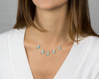 Silver Faceted Amazonite Necklace, Statement Necklace, Wedding Necklace, Engagement Necklace, Unique Gemstone Necklace
