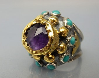Amethyst Engagement Ring, Amethyst Nefertiti Ring in 24K gold and silver Band, Antique Style Ring, Amethyst Queen Ring, Turquoise Gemstone