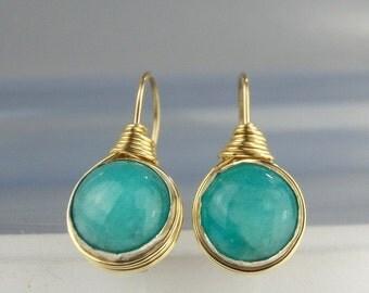 Turquoise Earrings, Wire Wrapped Amazonite Earrings, Teal Earrings, Dangle Earrings, Amazonite Gemstone, Blue Earrings