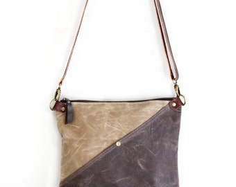 Waxed Canvas Day Bag Purse in Tan and Brown with an Exterior Pocket