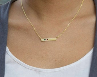 Personalized Mother's Day Necklace for Mom or Grandma, Perfect Gift for Mom! Sterling Silver or 24K Gold Bar Necklace with Birthstones.