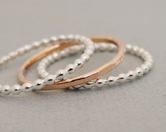 Rose Gold Ring and Sterling Silver Rings minimalist set of 3 Stacking Rings mixed metal stackable rings