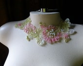 Beaded Lace Applique in Alencon Lace Pink & Green for Costumes, Garments CA 34pg