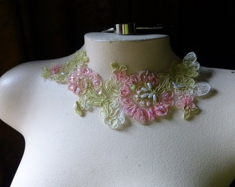 Pink Green Applique  Beaded Lace for Lyrical Dance, Costumes, Garments CA 34pg