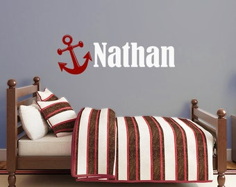 Anchor name decal, nautical personalized vinyl decal, boy's room monogram, anchor monogram for nursery