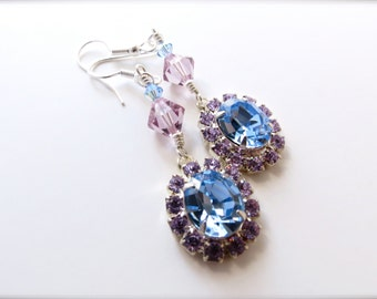 Bold Lilac Purple Pale Blue Pastel Rhinetsone Formal Pendant Earrings, Old Hollywood Glamour Elegant Statement Jewelry, Surgical Steel