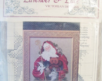 "Counted Cross Stitch Kit, SALE Vintage Lavender and Lace ""Santa of the Forest"" Sampler, Father Christmas Holiday Craft Destash Holiday Decor"