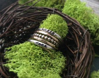 Stacked Textured Ring Set in Sterling Silver & 14k Gold Filled Personalize with One, Two or Three Names