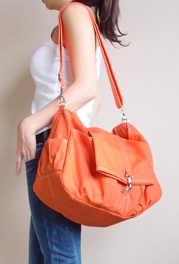 Shoulder Bag, Sling Bag, Tote, Diapers bag, Travel Bag, Crossbody Bag, Canvas Bag, Gift Ideas For Women - CLASSIC in Orange - SALE 30% OFF