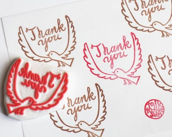 thank you rubber stamp. bird hand carved rubber stamp. hand lettered stamp. scrapbooking. gift wrapping. thank you card making. diy birthday