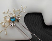 Blue Crystal Flower Kanzashi in gold, Ethereal, Elegant, Hair Stick, Hair Accessory, Flower Accessory, White Pearl and Swarovski