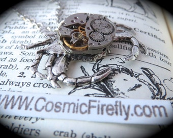 Steampunk Necklace Silver Crab Necklace Vintage Watch Movement Silver Plated Woman's Steampunk Crab Handcrafted Jewelry Cosmic Firefly