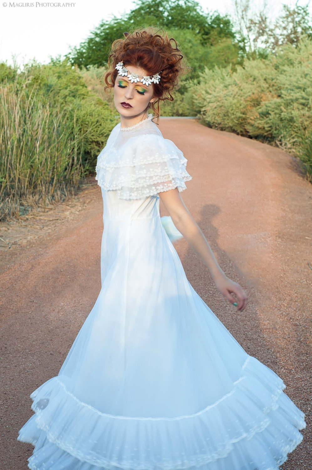 Southern Belle Tulle And Ruffles Vintage Wedding Dress