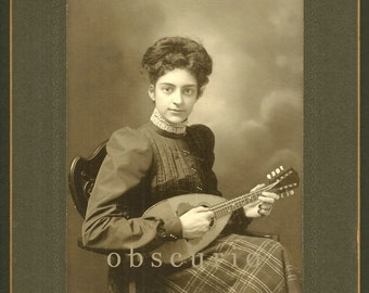 Lady Mandolin Player Antique Cabinet Photo