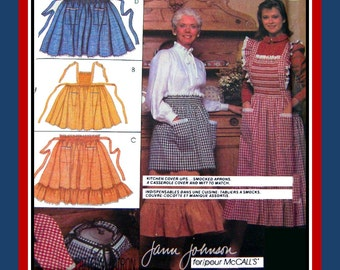 Vintage 1983-DESIGNER APRONS-Half & Full Smocked Styles-Three Styles-Sewing Pattern-Quilted Casserole Cover-Oven Mitt-Uncut-One Size-Rare