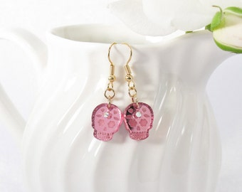 Pink Mirror Acrylic Etched Sugar Skull Drop Earring with Swarovski Crystal