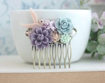Pastel Flower Comb, Bird Comb, Rustic Woodland Bird Comb, Pink Swallow Bird Com, Purple Floral Comb, Mint Green Blue Flower Bridal Hair Comb