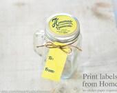 Limoncello Print at home labels and tags for homemade mason jar gifts printable yellow lemon theme gift tags and top label limoncello kit