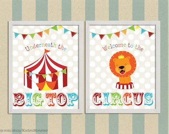 Circus nursery art prints with baby lion and circus tent multicolor with banner flags and white polka dots kids matching art set of 2