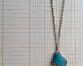 Aquamarine Seaglass And Pewter Necklace