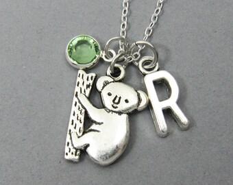 Koala Necklace - Koala on tree, Personalized Handstamped, Customized Swarovski crystal birthstone