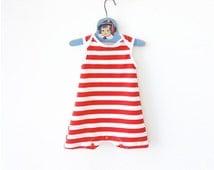 Red Stripes Baby Swimsuit   Unisex Retro Bathing Suit   Girl Girls One Piece Nautical Sailor Swimwear Beachwear Summer Vacation Clothes